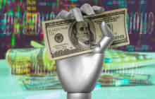 Roboterhand mit Geld
