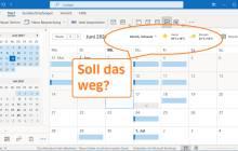 "Screenshot Outlook-Kalender mit Wetter, und Schrift ""Soll das weg?"""