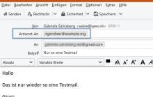 Screenshot Thunderbird mit Beispiel-Antwortadresse