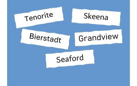 Die Namen der fünf Schriften auf blauem Hintergrund