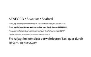 Schriftmuster mit Font Seaford