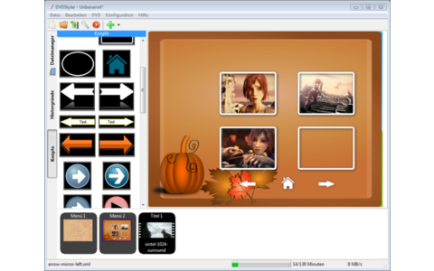 DVD Styler erstellt Video-DVDs mit Menüs. Sie wählen eine Vorlage aus oder gestalten das Menü inklusive Hintergrundbild komplett selbst.