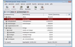 GnuCash ist eine Buchführungs-Software, mit der Sie Ihre Finanzen verwalten. Das Programm legt Bankkonten oder Wertpapierdepots an und dokumentiert eingegebene Buchungsvorgänge.