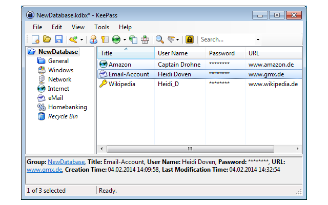 Keepass speichert Ihre Zugangsdaten wie Benutzernamen, Passwörter und PINs in einer Datenbank, die mit einem Master-Passwort verschlüsselt ist.