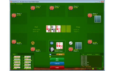 PokerTH ist ein Pokerspiel in der Variante Texas Hold'em. Sie spielen gegen bis zu zehn Spieler.
