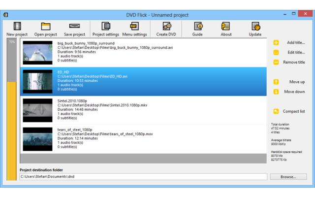 DVD Flick - Das Tool erstellt aus Videoclips und Filmdateien Video-DVDs für handelsübliche DVD-Player. Dabei unterstützt die Freeware mehr als 45 Dateiformate sowie 60 Video- und 40 Audio-Codecs. Ziehen Sie die zu konvertierenden Videodateien in das Progr