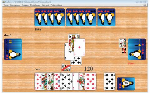 Free Doko - Die Freeware ist ein Doppelkopfspiel. Sie spielen mit drei computergesteuerten Spielern oder mit Freunden über die experimentelle Netzwerkunterstützung. Vor Spielbeginn lassen sich etwa die erlaubten Spiel-Soli und die Sonderpunktvergaben anpa