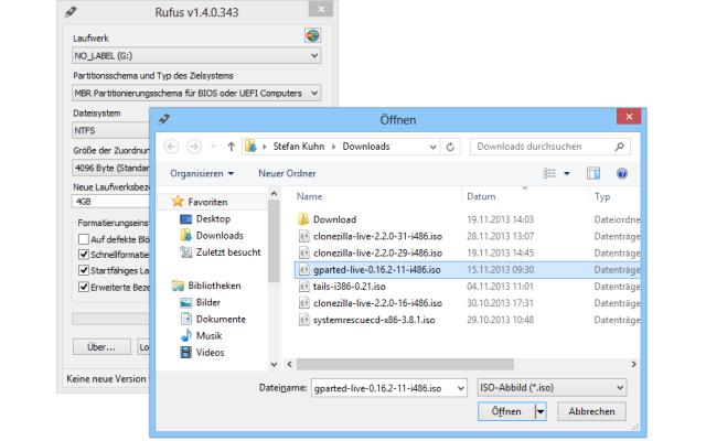 Rufus - Die Gratis-Software macht USB-Sticks bootfähig und installiert auf Wunsch eine ISO-Datei als Live-System darauf. Das Tool unterstützt dabei sämtliche Live-Systeme auf Basis des Bootloaders Isolinux und des Mini-Windows Win PE. Hinweis: Bei dem Vor
