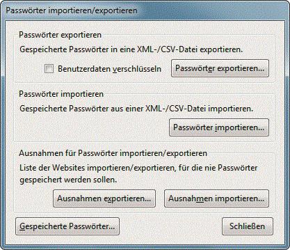 firefox passwörter importieren