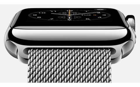 Ebenfalls neu: Die Apple Watch mit einem Retina-Display aus Saphirglas. Für die Smartwatch benötigt man mindestens ein iPhone 5, der Einstiegspreis liegt bei 349 US-Dollar (Bild: Apple).