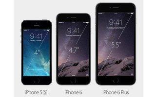 Deutlich größer: Beide iPhone-6-Modelle sind deutlich größer als das Apple iPhone 5S. Das iPhone 6 kommt mit einem 4,7 Zoll großen Bildschirm, das Display des iPhone 6 Plus misst 5,5 Zoll (Bild: Apple).