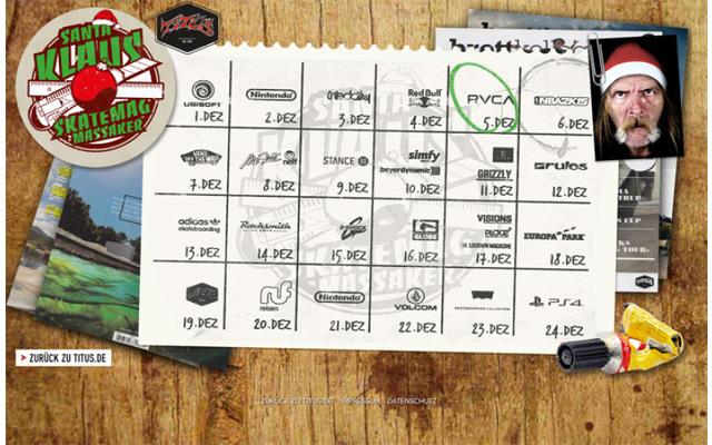 """Der Skateshop Titus bietet mit dem """"Santa Klaus Skatemag Massaker"""" eine Xmas-Aktion, bei der täglich interessante Preise locken. Zur Teilnahme muss ein Mini-Game bewältigt sowie ein Anmeldeformular ausgefüllt werden."""