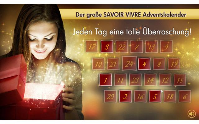 """""""Jeden Tag eine tolle Überraschung"""" verspricht der """"Savoir Vivre Adventskalender"""" von Promondo. Wer auf's richtige Türchen klickt, bekommt die Überraschung des Tages angezeigt."""
