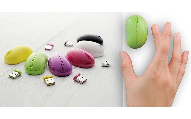 """Elecom Baby Beans Laser Mouse - Schon 2011 sicherte sich das Elcom-Mausmodell Baby Beans  in den Guinness World Records den Titel """"kleinste kabellose Maus der Welt""""."""