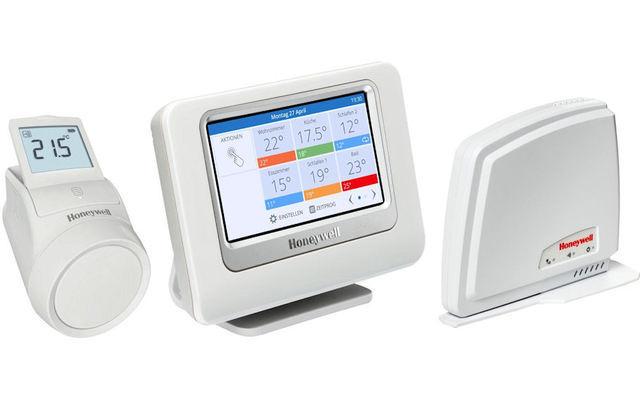 Honeywell Evohome Gateway Starter Paket - Dieses Set mit einem programmierbaren Heizkörperregler und einem zentrale Bediengerät lässt sich dank des mitgelieferten Remote Gateway RFG100 per Ethernet mit ihrem Heimnetz verbinden und per Smartphone regeln.