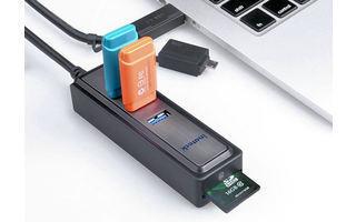 Inateck HB4008 - Diese praktische Multifunktionslösung enthält einen USB-Hub mit drei USB-3.0Anschlüssen, einen Kartenleser für SD-Speicherkarten und einen OTG-Adapter mit microUSB-Anschluss.