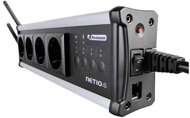 Koukaam Netio 4 All - Mit dieser WLAN- und Bluetooth-fähigen Mehrfachsteckdose lassen sich bis zu vier Verbraucher unabhängig voneinander und zeitgesteuert oder aus der Ferne per Skript, Browser oder Smartphone-App an- und ausschalten.