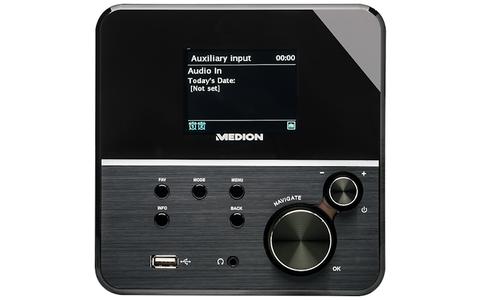 Medion Life P85040 (MD 86988) -  Das Internet-Radio mit 2,8 Zoll großem TFT-Bildschirm und zusätzlichem UKW-Radio-Tuner mit Radio-Data-System-Funktion verbindet sich per WLAN oder Ethernet-Kabel mit Ihrem Heimnetz.