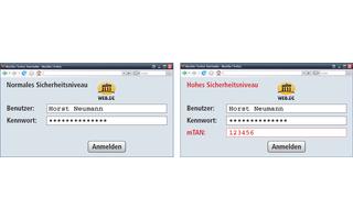 Anmeldung bei Ihrem Postfach: Es gibt zwei Sicherheitsstufen: das normale und das hohe Sicherheitsniveau. Beim hohen Sicherheitsniveau geben Sie zusätzlich zu Ihrem Benutzernamen und dem Kennwort noch eine mTAN an. Nur dann dürfen Sie alle Funktionen von