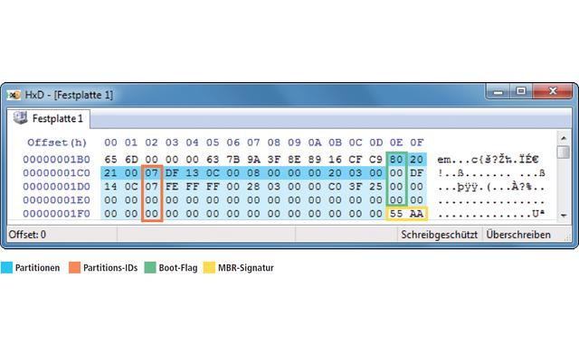 """Partitionstabelle im Hex-Editor: Blau markiert sind die vier Partitionen. Die beiden Partitions-IDs (orange) mit dem Wert """"07"""" kennzeichnen die zwei NTFS-Partitionen. Die erste mit dem Boot-Flag """"80"""" (grün) ist die Boot-Partition. Die MBR-Signatur """"55 AA"""""""