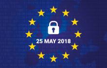 Europa Flagge mit Stichtag der DSGVO