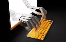 Roboterhände aus Bildschirm