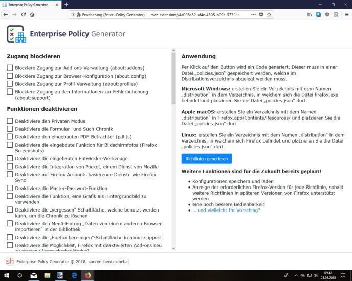 Enterprise Policy Generator für Firefox gestartet - com