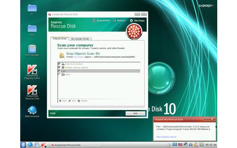 Kaspersky Rescue Disk sucht auf Ihrem PC nach Viren, ohne dass Windows läuft. Das hat den Vorteil, dass vorhandene Viren nicht starten und ihren Selbstschutz aktivieren. Dank Sardu startet der bootfähige Virenscanner auch vom USB-Stick.