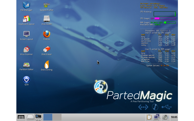 Parted Magic stellt Tools für die System- und Laufwerkdiagnose bereit. Das Live-System ist ideal zum Einrichten neuer Festplatten oder SSDs. Zudem bietet es eine Sicherungssoftware sowie Lösch- & Netzwerkassistenten bereit.