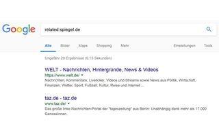 Google-Suche nach alternativen Quellen