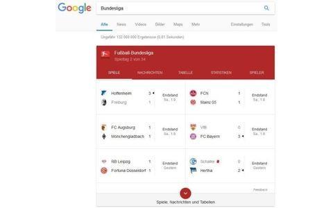 Google Sportergebnisse und Tabellen